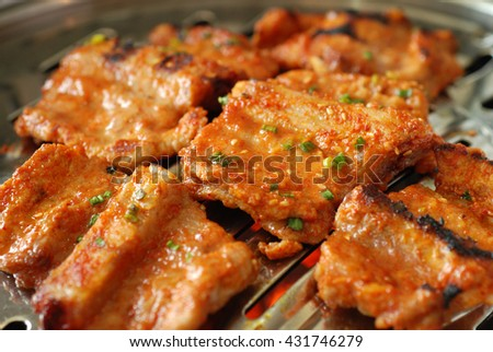 Pork ribs with hot and spicy gochujang based sauce, korean bbq
