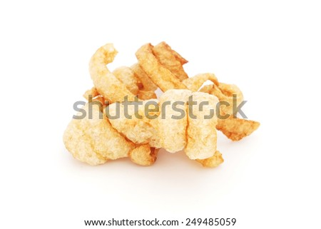 pork rinds on isolated white background