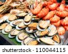Pork satay in buffet corner - stock photo
