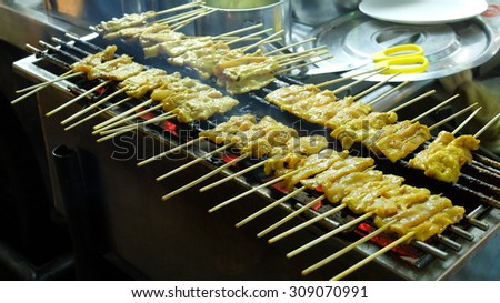 Pork Satay, Traditional Thai Spice Steak Roasted Pork on Grilled in Local Street Night Market - stock photo