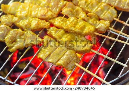 Pork Satay, Traditional Thai steak roasted pork on grilled  - stock photo