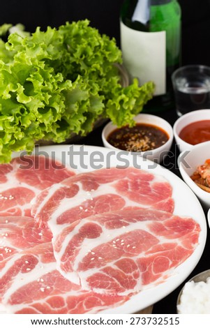 pork slices,barbecue grill set,korean food - stock photo