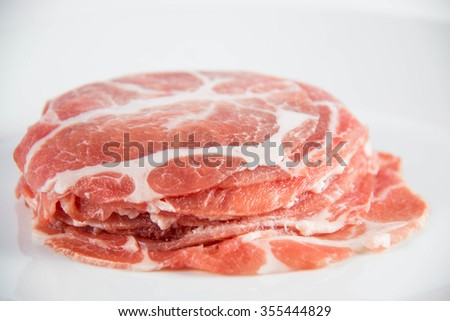 Pork Slide raw meat for boil or scald for cooking