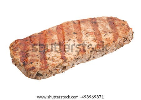 Pork steak closeup isolated on white background