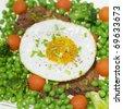 pork steak with vegetables - stock photo