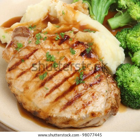 Pork steak with vegetables and gravy - stock photo