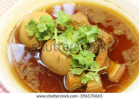 Pork stewed in the gravy with tofu delicious for Thai food and nutritions    - stock photo