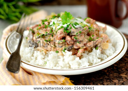Pork stroganoff with sour cream, fresh greens and chopped gherkin on rice - stock photo