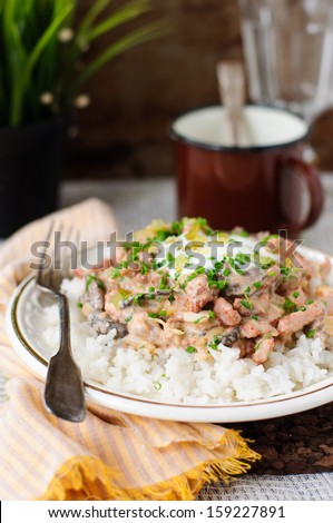 Pork stroganoff with sour cream, fresh greens and chopped gherkins - stock photo