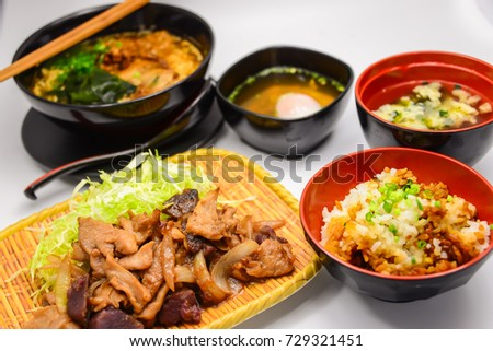Pork with ginger set,with soup rice and ramen