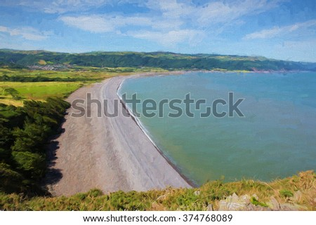 Porlock beach Somerset England UK near Exmoor and west of Minehead on the south west coast path view from Hurlstone Point towards Porlock Weir illustration like oil painting