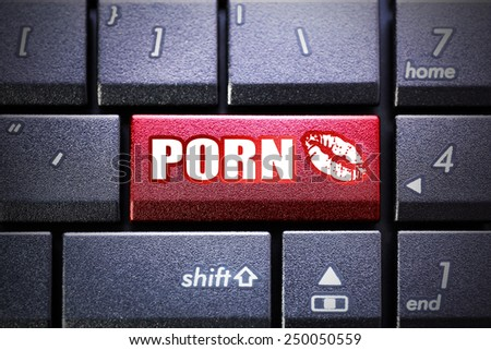 Porn button on the computer keyboard - stock photo