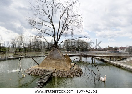 POROSZLO, HUNGARY - APRIL 13: The garden of the Tisza Lake Ecocenter on April 13, 2013 in Poroszlo. The goal of the center to show the fauna of Tisza, it has the largest freshwater aquarium in Europe.