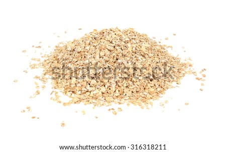 Porridge oats or oatmeal, isolated on a white background - stock photo