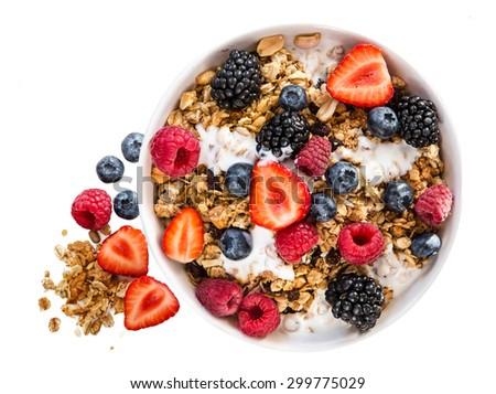 porridge with fresh strawberry isolated - stock photo