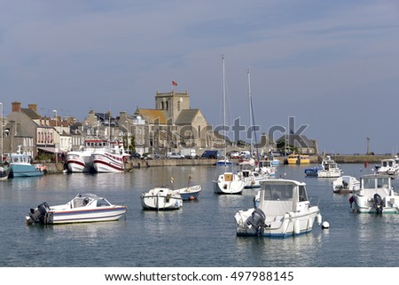 Port and church of Saint-Nicolas of Barfleur, a commune in the peninsula of Cotentin in the Manche department in Lower Normandy in north-western France