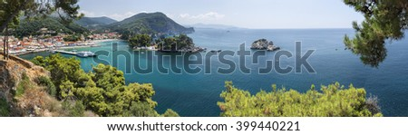 Port and old town Parga , Greece. Parga is one of popular resorts of a continental part of Greece, combining curative sea and coniferous air  - stock photo