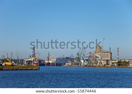 Port and shipyard in Gdansk, Poland.
