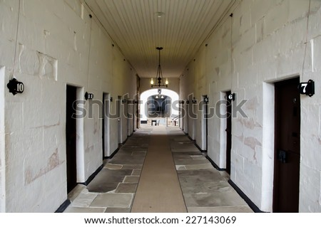 Port Arthur Prison Corridor - Tasmania - stock photo
