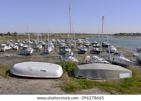 Port at low tide of Barneville-Carteret, a commune in the peninsula of Cotentin in the Manche department in Lower Normandy in north-western France - stock photo