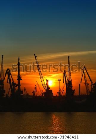 Port at night - stock photo