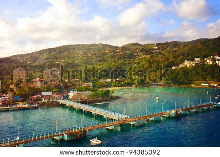 Port at Ocho Rios in Jamaica - stock photo