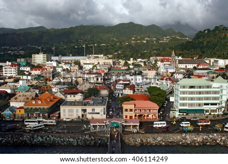 Port at the island of Dominica - stock photo