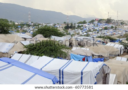 PORT-AU-PRINCE - AUGUST 28: A top angle view of a Tent City, on August 28, 2010 in Port-Au-Prince, Haiti - stock photo