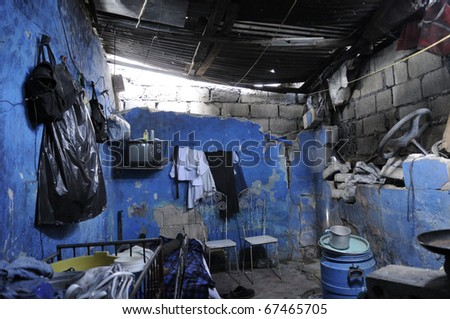 PORT-AU-PRINCE - AUGUST 25: A typical example of a shack in Cite Soleil on of the poorest community in Haiti, in Port-Au-Prince, Haiti on August 25, 2010. - stock photo