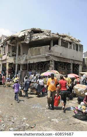 PORT-AU-PRINCE - AUGUST 27: Most of the buildings in Downtown   Port-Au-Prince still remains  untouched and risky, in Port-Au-Prince, Haiti on August 27, 2010 - stock photo
