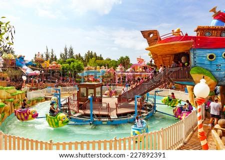 PORT-AVENTURA, SPAIN - SEPT, 06:Amusement park in Spain near Salou- Port Aventura. One of the biggest park in Europe. Event September 06, 2014 in Port-Aventura, near Salou,  Spain - stock photo