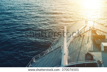Port Bow Forward Cruise Ship on the Ocean Crossing During Sunset. Closeup Photo. Cruise Liner. - stock photo