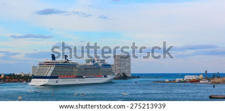 """PORT CANAVERAL, FLORIDA - MARCH 9, 2013. 5 PM: Celebrity """"Eclipse"""" large cruise ship is leaving port for 7 days Caribbean voyage. - stock photo"""