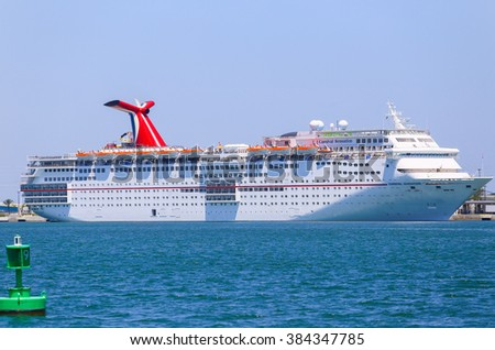 PORT CANAVERAL, USA - MAY 7, 2015: The cruise ship Carnival Sensation landed in Port Canaveral. - stock photo