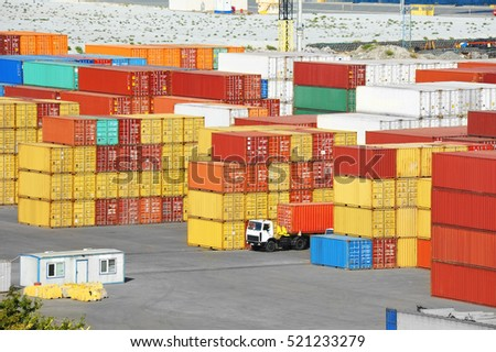 Port cargo container in port of Odessa, Ukraine
