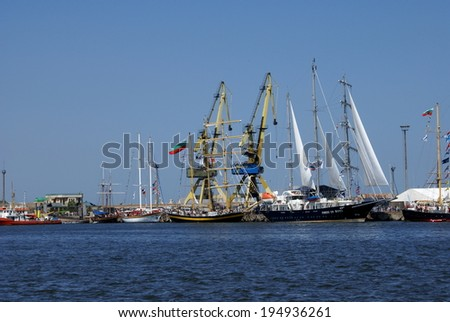 PORT CONSTANTA,ROMANIA - MAY 25, 2014. Sailboats who participate at the competition THE BLACK SEA TALL SHIPS REGATTA 2014 ,competition on the Black Sea.