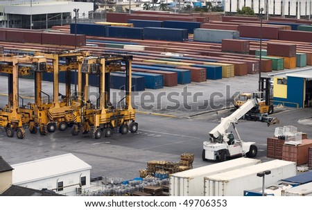 port container cranes and cargo containers