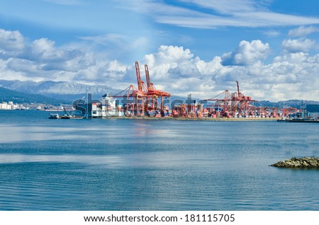 Port Container Terminal in Vancouver, Canada. - stock photo