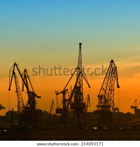 Port cranes - stock photo