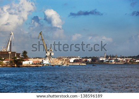 port cranes on a sunny day - stock photo