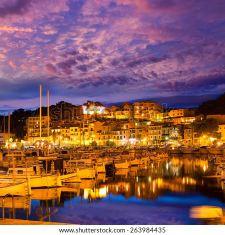 Port de Soller sunset in Majorca at Balearic island of Mallorca Spain - stock photo
