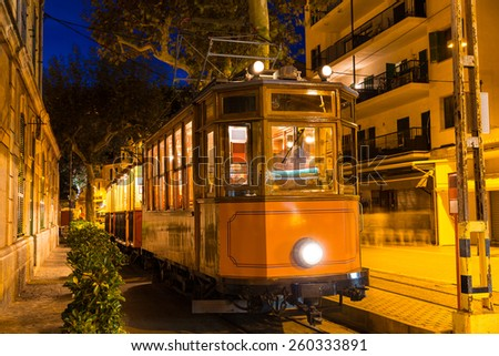 Port de Soller sunset train Ferrocarril Majorca at Balearic island of Mallorca Spain - stock photo