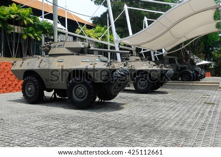 PORT DICKSON, MALAYSIA - MAY 08, 2016: Old army armor vehicle restored and display for public at Malaysia Army Museum or Muzium Tentera Darat in Port Dickson, Negeri Sembilan, Malaysia.