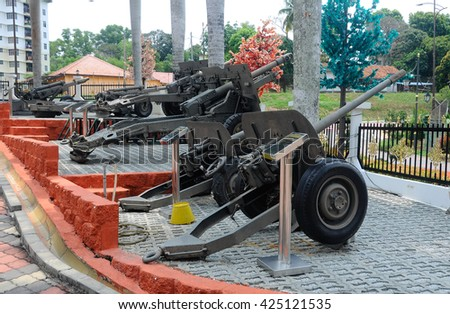 PORT DICKSON, MALAYSIA -MAY 08, 2016: Old cannon restored and display for public at Malaysia Army Museum or Muzium Tentera Darat in Port Dickson, Negeri Sembilan, Malaysia.