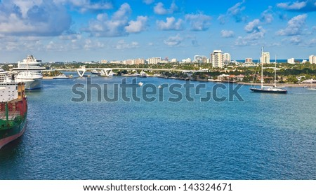 Port Everglades, cruise port and seaport, in Ft. Lauderdale, Florida - stock photo