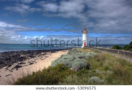 port fairy lighthouse along the great ocean road - stock photo