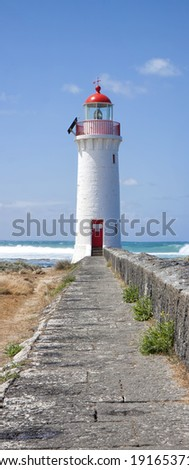 Port Fairy Lighthouse, Griffiths Island, Great Ocean Road, Victoria, Australia  - stock photo