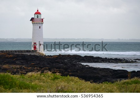 Port Fairy LIghthouse on Griffiths Island, Victoria, Australia