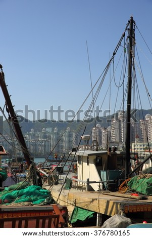 Port for fishing boats in China - stock photo
