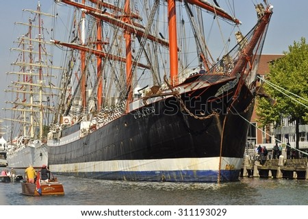 Port Ijhaven, Amsterdam, the Netherlands - August 20, 2015: The Sedov tall ship (Russia) at the time of the SAIL (www.sail.nl), an international public nautical event held once in every 5 years.